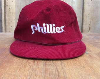 80s Phillies red cordaroy baseball hat