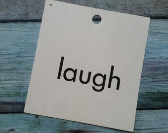 Vintage 1960's Word Flash Card for Peg Board   Laugh