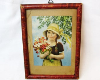 Antique Picture Framed Print of a girl with flowers