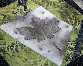 Eco Print Leaves, Quilted Wall Hanging, Tablecloth, Quilt
