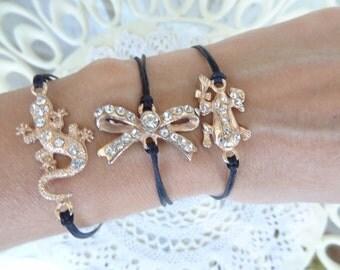 Friendship Bracelet, Rose Gold Lizard,Bow,Frog Bracelet, Black Bracelet, Christmas Gift, Best Friend Birthday