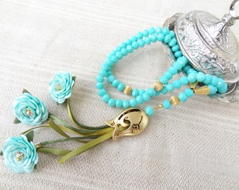 Turkish Islamic 99 Prayer Beads, Turquoise Crystal Tesbih,Tulip ,Tasbih,Misbaha,Sibha, Sufi, Stress, Love, peace, harmony, Mother's Day Gift
