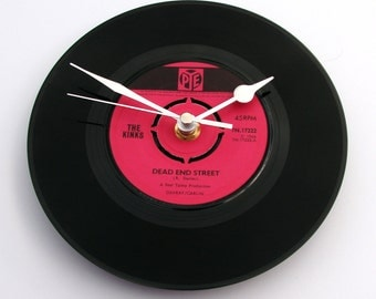 "THE KINKS Record Clock ""Dead End Street"" made from a recycled vinyl 7"" record Retro vintage gift for mum dad brother sister black and pink"