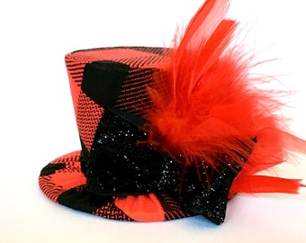 Mini Top Hat Headband, Red Buffalo Plaid, READY TO SHIP, 1st Birthday, Tea Party, Sparkle Birthday, Costume, Photo Prop, Cake Smash