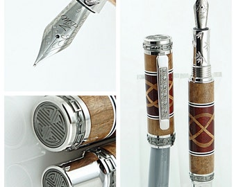 Custom Wooden Pen Fountain Bloodwood and Bastogne Walnut Knots and Segments with White and Black Rings Rhodium Emperor Hardware 738FPXLA