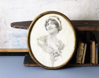 Antique Victorian photography, antique portrait of the young girl, wall decor, wall gallery
