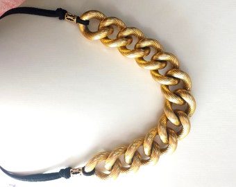 Golden Eco Elegance Statement Necklace, OOAK, Fair Trade, Eco Friendly, Up cycled, Gold Chain with Black Cord, Vegan Necklace