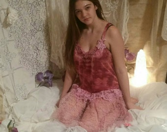 Boho, hippie, vintage Upcycled slip dress. On SALE
