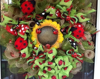 Ladybug Deco mesh Wreath, summer wreath, door wreath, ladybug wreath