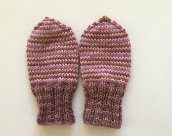 Newborn baby hand knit thumbless  mittens,colorful,soft wool,baby girl.