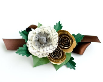 Book Flower Wrist Corsage - Customized to Your Colors and Book Choice - Mother and Grandmother Wedding Corsage - Prom Ribbon Corsage