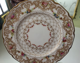Antique Plate/Royal Doulton Display Plate/6 Inches/ Raised Gilding/Hand Painted Roses/Gilded Back Rim/Cabinet Display/Christmas Gift