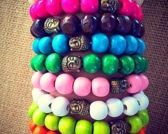 Beaded bracelet buddha charm