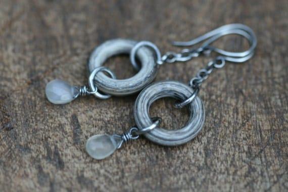 Organic White lampwork rings and Moonstone earrings n.232 - winter fall jewelry . lamp quiet ring . rustic jewelry . boho earrings . dangle