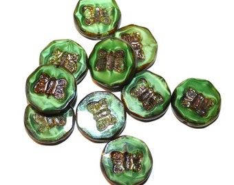 Butterfly table cut czech glass beads with picasso and shine finish - 18mm - 2 beads (031)