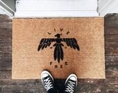 LIVE FREE Natural Hand Painted Door Mat