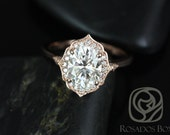 Rosados Box Mae 9x7mm 14kt Rose Gold Oval F1- Moissanite and Diamond Halo WITHOUT Milgrain Engagement Ring