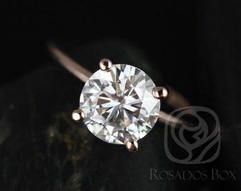 Rosados Box Skinny Alberta 8mm 14kt Rose Gold Round F1- Moissanite Tulip Solitaire Engagement Ring