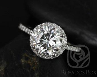 Rosados Box DIAMOND FREE Kubian 8mm 14kt White Gold Round F1- Moissanite and White Sapphires Halo Engagement Ring