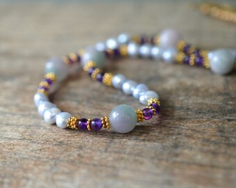 Sophisticated lavender pearl necklace Purple amethyst genuine gemstone bead necklace February birthstone Freshwater pearl jewelry