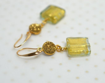 Venetian glass earrings Gold druzy earrings Murano glass dangle earrings Crystal geode earrings Drusy jewelry