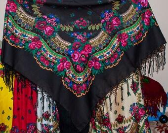 Russian shawl. Ukrainian shawl. Ethnic Floral shawl, black shawl.  Chic black scarf, Hustka Babushka head scarf. Folk black Scarf, Platok
