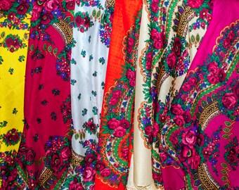 WHOLESALE different colors Russian shawl. Ukrainian Floral chale russe, Chic scarf, Mantón hustka. Babushka head scarf Fringed Shawls Platok