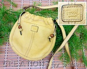 FREE SHIPPING Fossil Leather Handbag Amber Yellow Faux Drawstring Shoulder Cross Body Bag Cinch Pouch Purse Authentic Designer Vintage (494)