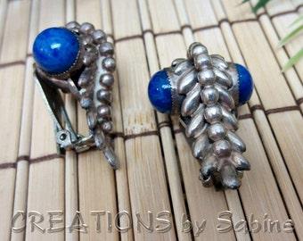 Unique Silver Sodalite Blue Stone Gemstone Clip Earrings Elegant Classy Unique Vine Steampunk Vintage FREE SHIPPING (470)