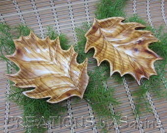 Set of 2 Wooden Leaves Wood Carving Dish Carved Table Decorations Autumn Rustic Woodland Vintage FREE SHIPPING (496)