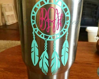 Dream catcher monogram Decal, yeti Decal, car Decal, laptop Decal, vinyl Decal, tribal monogram Decal (made to order)