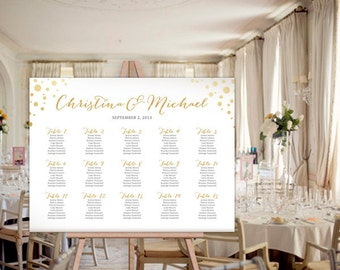 Custom Gold Foil Wedding Reception Guest Seating Chart Poster