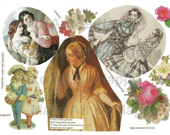 Collage sheet, journal sheet, romantic, vintage, Victorian, nr TH34, scrapbooking, art journaling