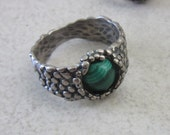 Malachite Silver Ring - Textured band Ring - Mens Ring - for Boyfriend Husband