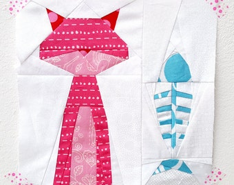 Smitten Kitten paper piecing pattern - quilt block - cat quilt