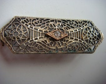 Vintage Filigree Pin with CZ