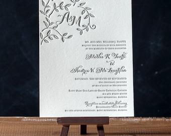 Serenity Letterpress Wedding Invitations Suite - DEPOSIT