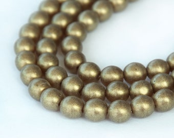 Sueded Gold Smoky Topaz Czech Glass Beads, 6mm Round - 50 pcs - eMSG1023-6r