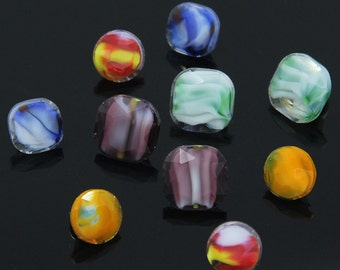 6 pcs 0.39~0.47 inch Colorful Circle/Octagonal Imitation Jade Pattern Resin Shank Buttons for Shirts