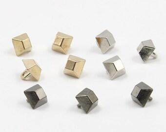 6 pcs 0.31 inch High-grade Retro Small Gold/Silver/Gun black Square Metal Shank Buttons for Shirts