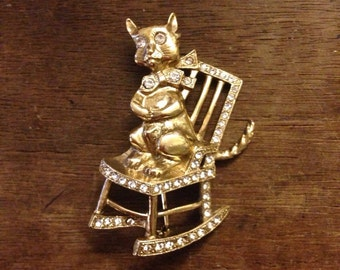 Rhinestone Kitty Cat Kitten in Rocking Chair Pin/Brooch