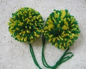 Handmade Yarn Pom Poms - Bright Green and Yellow - Set of 2