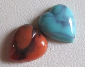 Marbled Turquoise Coral Heart 10MM Vintage Lucite Flat back Cabochon