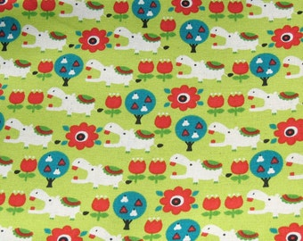 Green and Red Hippopotamus Cotton Fabric, Hippo Fabric, Green and Red Cotton Fabric, Tulip Fabric, Red Flower Fabric, Fabric By The Yard