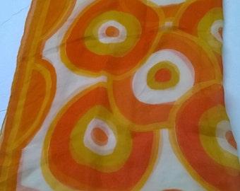 Vera Bull's-eye Orange White Sheer Silk Scarf 1970s