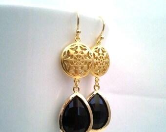 Black Gold Drop Earrings, Gold Oriental Dangle Earrings, Onyx Earrings, Wedding Jewelry Bridesmaid Jewelry Bridal Jewelry, wedding gift