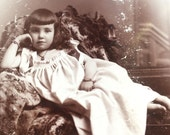 Odalisque Beautiful Girl Reclining Antique Cabinet Card Photo