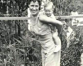 Adorable Mom Piggyback Baby Vintage Photo
