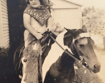 Traveling Pony Little Cowgirl Vintage Photo