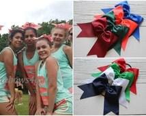 Cheerleading bow, PICK 5, cheer bows pink, cheap cheer bow, coral cheer bows, pony holder cheer bows, ribbon cheer bows, extra large bows